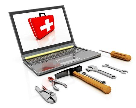 De monitor met de complete set van tools voor reparatie Stockfoto