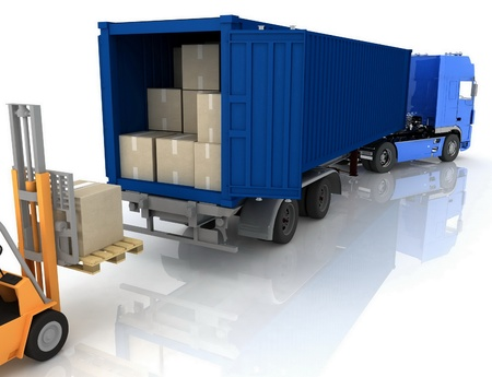 freight: Loading of boxes is isolated in a container on a white background