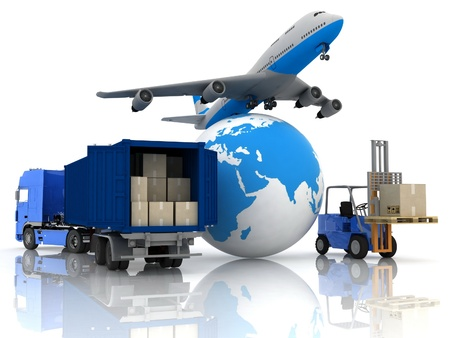 airliner with a globe and autoloader with boxes in a container photo