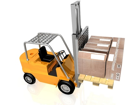 Forklift with boxes is isolated on a white background photo
