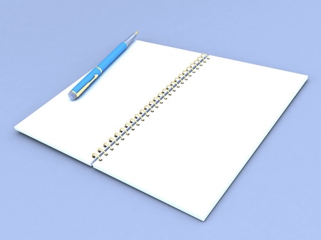 notebook and  pen on a gray background Stock Photo - 12584815