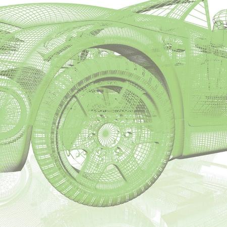 acceleration:  Closeup of wheels of machine on white background Stock Photo