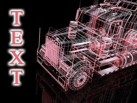 3d truck and text photo