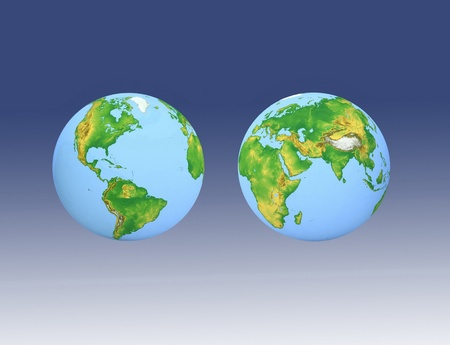 Two globes on a blue background Stock Photo - 12800983