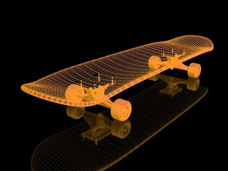 A skateboard on a black background Stock Photo - 12801350