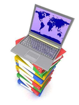 Laptop on stack of folders Stock Photo - 12800705