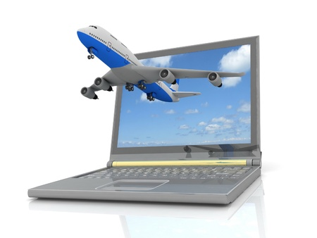 he plane takes off from the laptop monitor. Stock Photo - 12800511