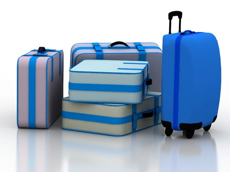 Suitcases isolated on white background with reflection photo
