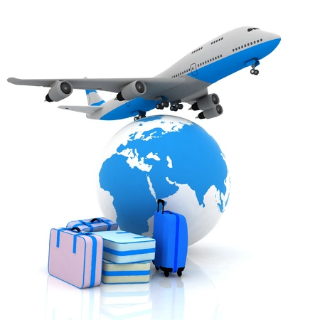 airliner and suitcases with a globe in the background Stock Photo - 12800378