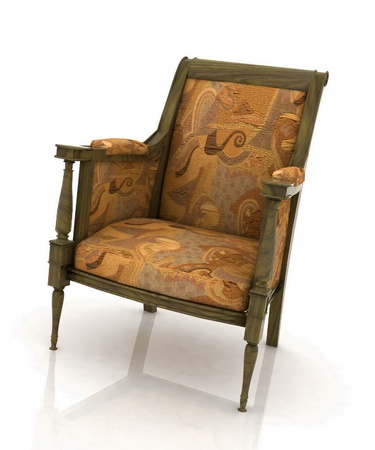 Close up view of the old elbow-chair photo