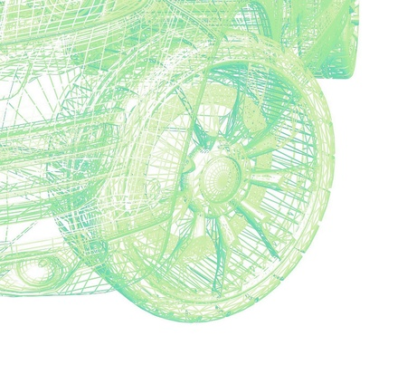 Closeup of wheels of machine on white background photo