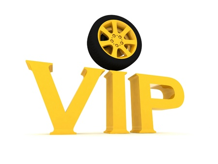 Gold vip with a wheel  on a white background photo