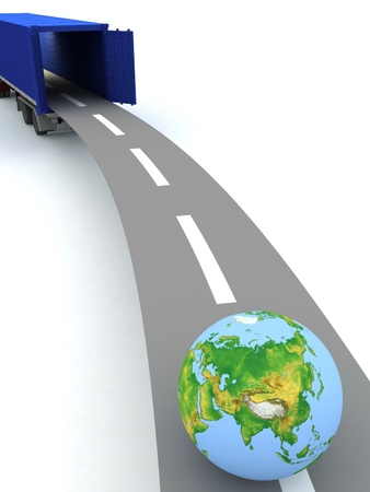 trucking: Container with open doors and a globe  We offer international transportation