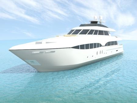 luxury yacht: luxury white cruise yacht