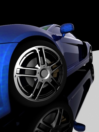 car concept: Closeup of wheels of machine on black background