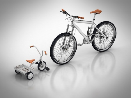 hair product: Childrens bicycle against a sports bike