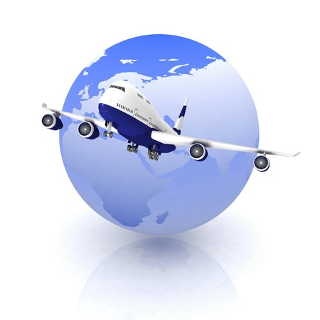 airliner with a globe in the background Stock Photo - 12922972