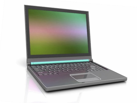 minicomputer:  modern laptop isolated on white