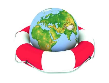 wheel guard: the globe and lifebuoy ring