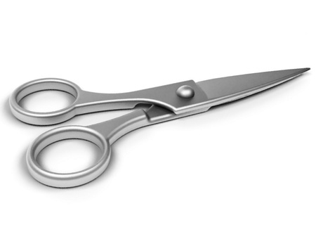 Metal scissors isolated on the white background photo
