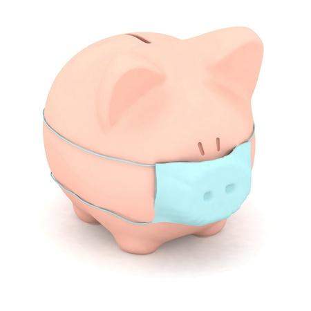 3d illustration of pig with mask. illustration