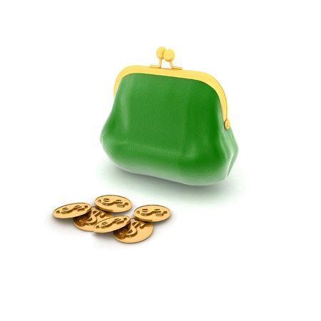 3D an illustration of a purse and money Stock Illustration - 13130183