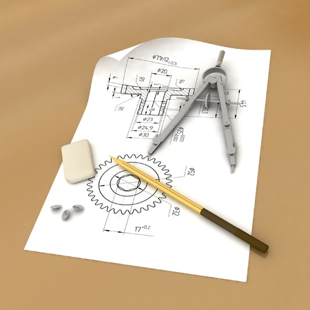 Band, pencil and compasses photo