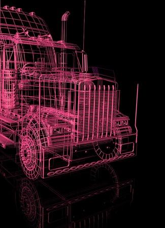 トラックの 3 d ブース 写真素材