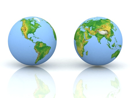 south east: Globe on white backgraund Stock Photo