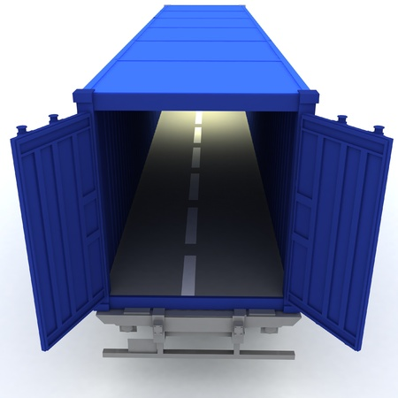 loading dock: Open cargo container