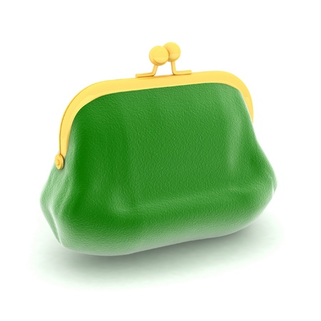 coin purses: The color purse on a white background
