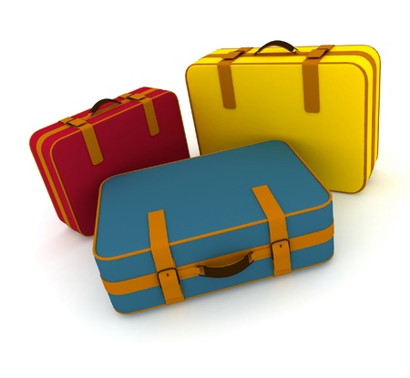 Suitcases isolated on white background photo
