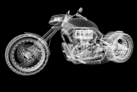 3d sport bike black background with reflection photo