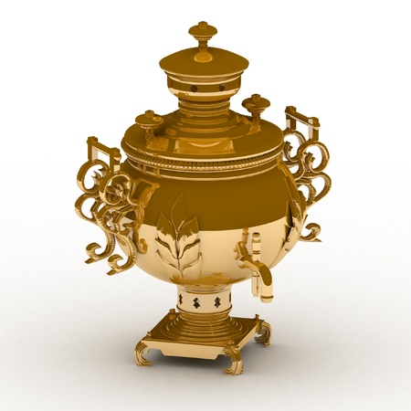 Old golden samovar isolated on a white background Stock Photo - 13407813