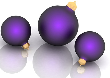Violet сhristmas balls isolated on white background photo