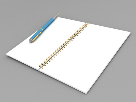 pen and notebook on a gray background photo