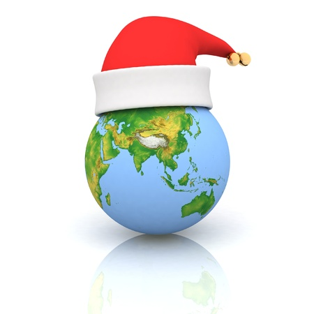 Globe in a christmas cap  Isolated 3D image photo