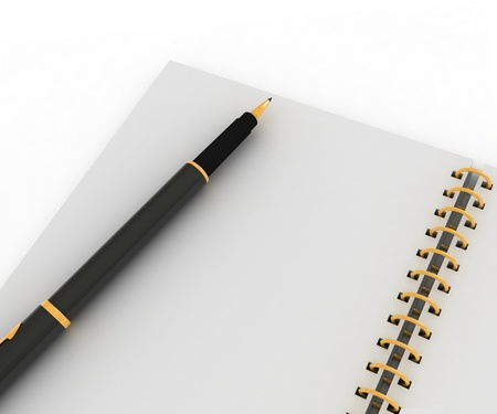 Notebook and pen on a white background photo
