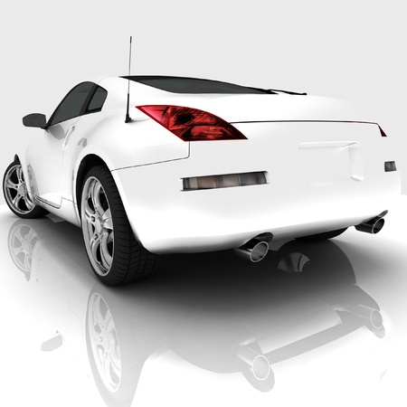 Car model on white background with reflection photo