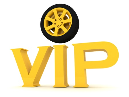 Gold vip with a wheel photo