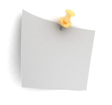 Fixed sheet of paper on white background Stock Photo - 13859366