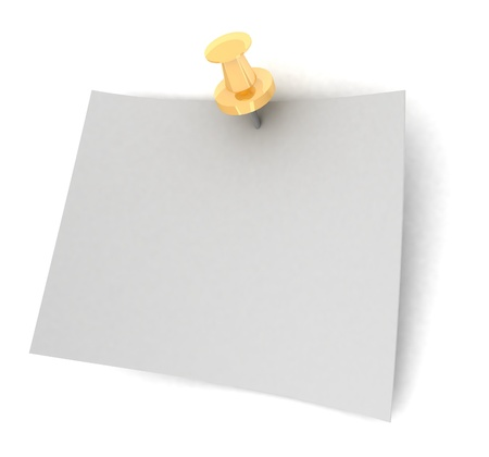 Fixed sheet of paper on white background photo