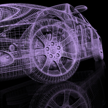 wire frame: 3d model cars