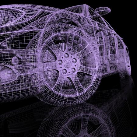 digitally generated image: 3d model cars