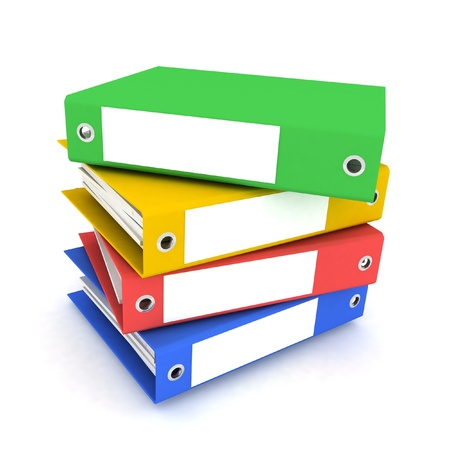 note paper: folders for papers on a white background Stock Photo