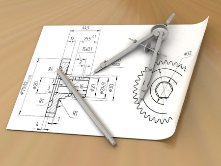Compasses drawing and a pencil Stock Photo - 13993662