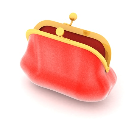red purse on a white background photo