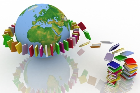 books fly into belt round the earth photo