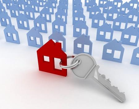 3d model house symbol set and key photo