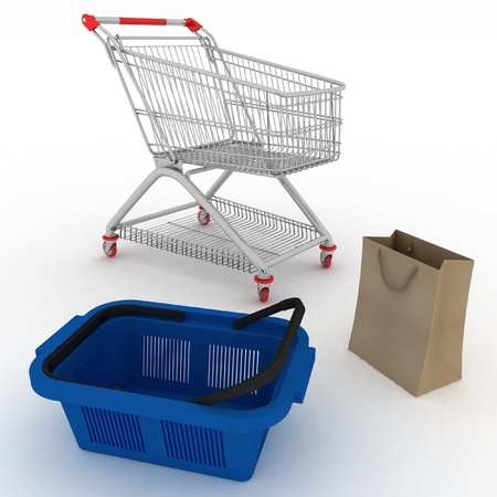 Collection for shopping from  basket, packages and cart photo